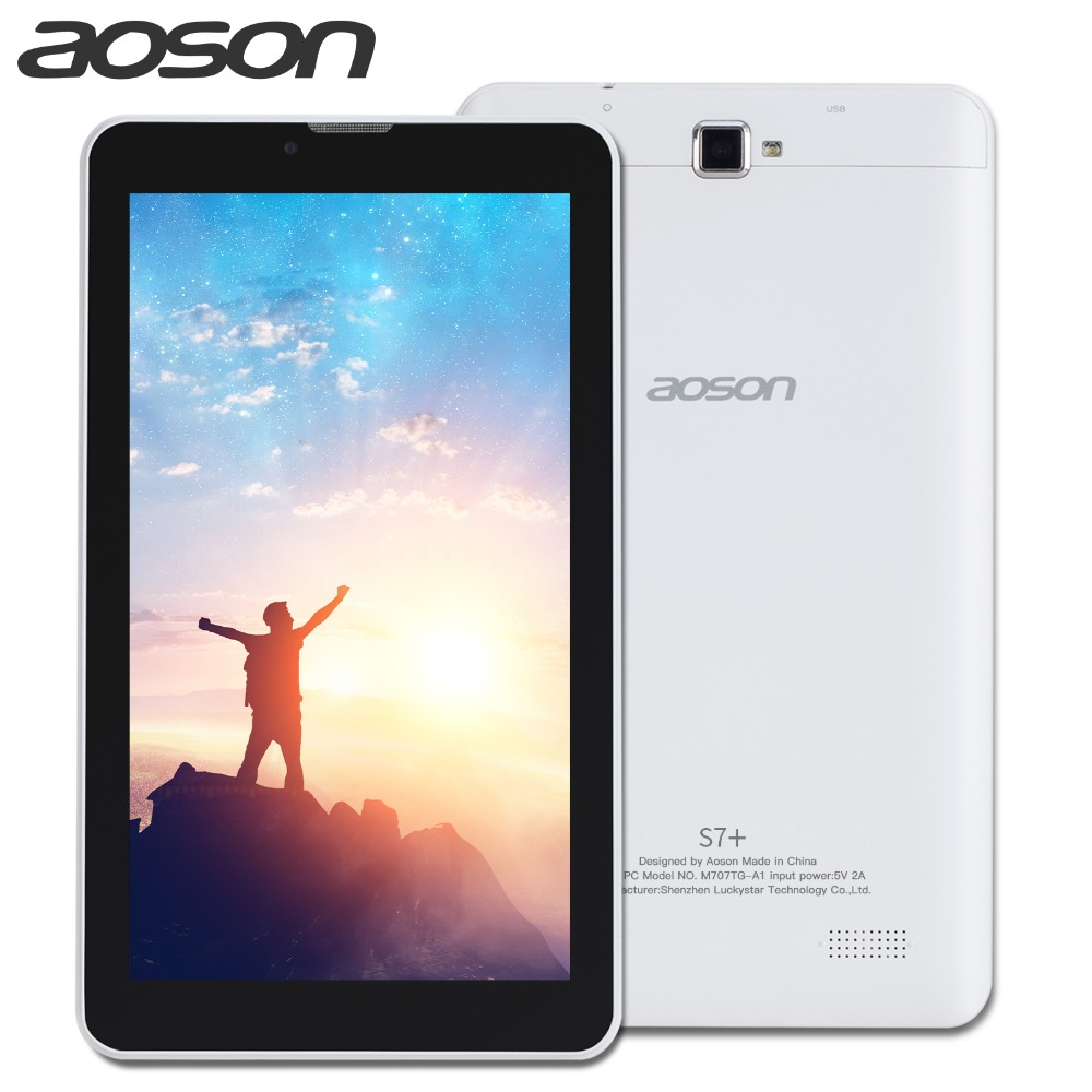 new!Aoson S7+ 7 Inch 3G SIM CARD Phone Call Tablet pcs Quad Core Android 7.0 Tablets 16GB PAD Dual Camera GPS WIFI Bluetooth IPS kmax tablet pc 7 inch ips quad core android 7 0 google tablets dual camera bluetooth 16gb rom wifi tablets k a7i quad