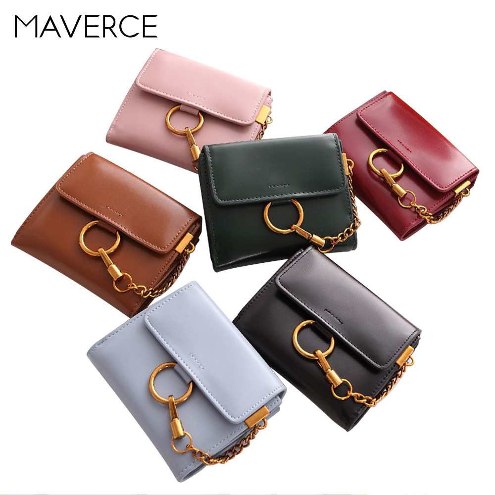 6 Color Fashion Women Wallets Metal Hanging Chain Foldable Women 39 s Purse Ladies Mini Wallet PU Leather Wallet in Wallets from Luggage amp Bags