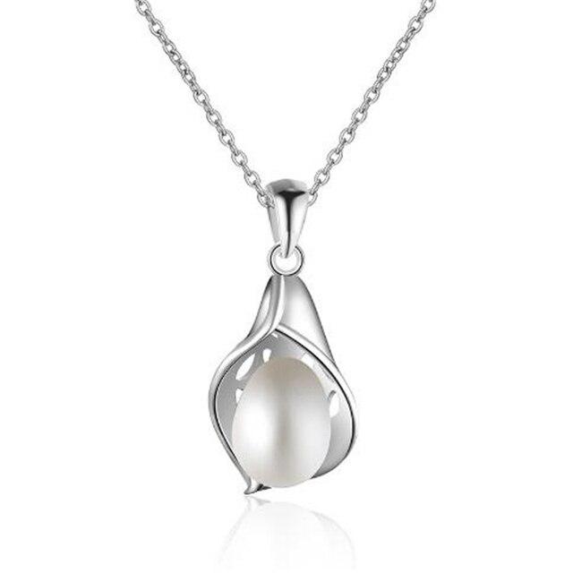 38635e061472 Joyería fina perla Bohemia 2018 blanco natural de agua dulce 925 plata  esterlina hueco en forma