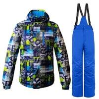 2018 лыжный костюм для мужчин Professional Лыжная куртка + брюки для девочек комплект водостойкий ветрозащитный Теплый уличная одежда дышащий Лыжн