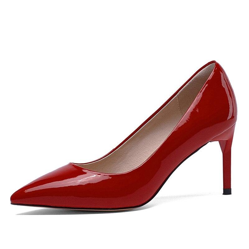 Nouveau grande taille 33-40 en cuir véritable bout pointu chaussures à talons hauts femme décontracté bureau fête mariage printemps automne pompes