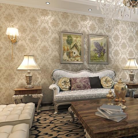 Papel de Parede Sala de Estar do Restaurante Luxuoso Damasco Europeia Bronze Beibehang Passarela Wallpaper