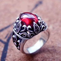 S925 silver anchor flower ring personality red zircon Black Onyx Ring Ring men atmosphere Metrosexual fashion models