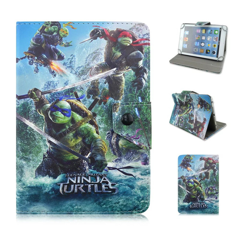 Teenage Mutant Ninja Turtles Cute Cartoon PU Leather Stand Cover Case Universal 7 inch Tablet Case Funda Coque