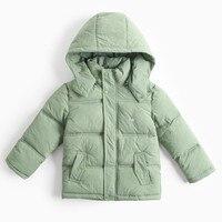 Куртки для Обувь для мальчиков зима съемный капюшон парка детская Армейский зеленый теплая хлопковая стеганая куртка дети мода весна пальт...