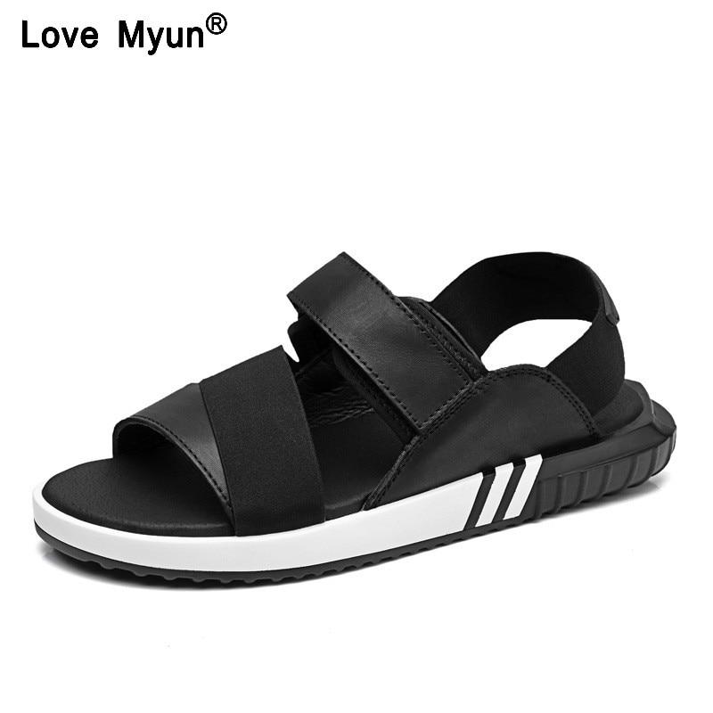 Summer Leather Men Sandals Black Simple Hand Sewing Men Shoes Comfortable Beach Shoes Men Sandals T1