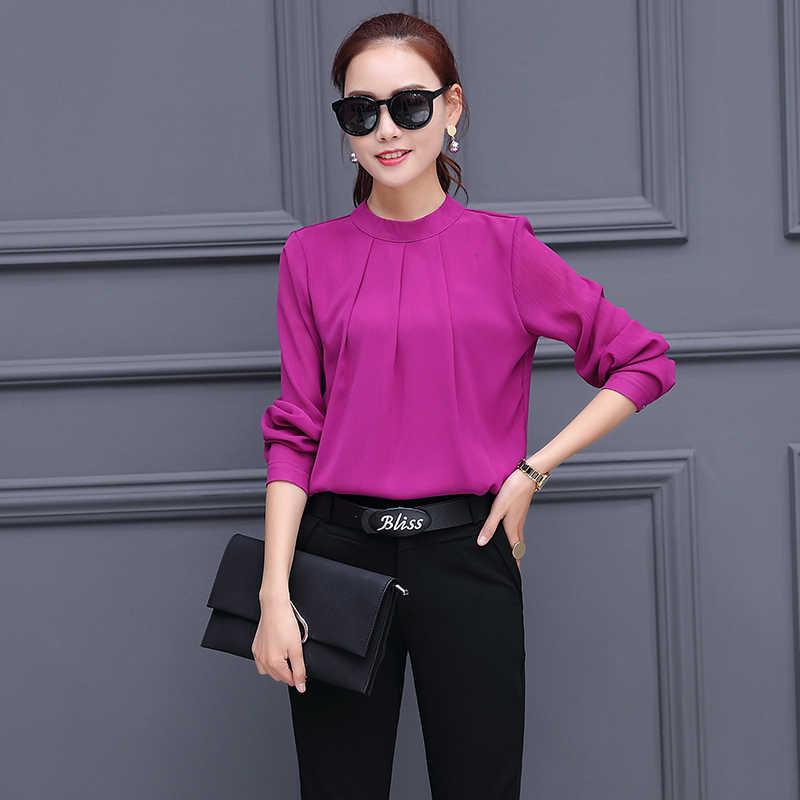 5b237856 ... chiffon shirt blouse top black trousers korean fashion slim suits  autumn women new two-piece ...