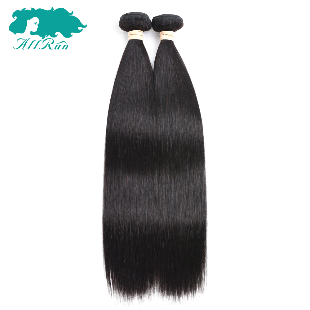 Allrun Natural Color Indian Straight Human Non-Remy Hair Bundles 2 PCS/Lot Extensions Weaves Tangled Free Free Shipping