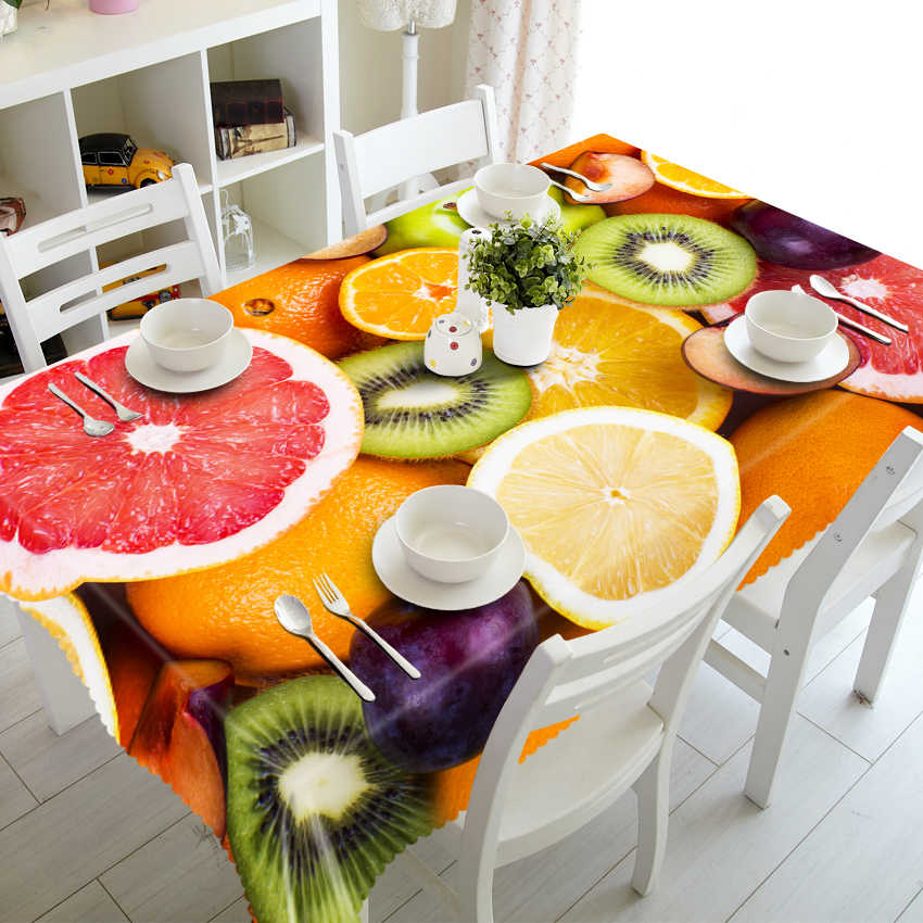 3D Tablecloth Rich Fruit Pattern Happy Family Merry Christmas Washable Cloth Thicken Rectangular and Round Wedding Table Cloth