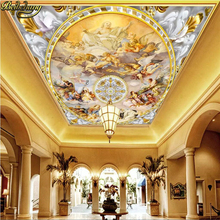 desktop wall paper 3d murals Top suspended ceiling mural wallpaper painting Western European blue sky Angel photo wallpaper roll free shipping custom modern 3d mural suspended ceiling top bedroom wallpaper sky backdrop