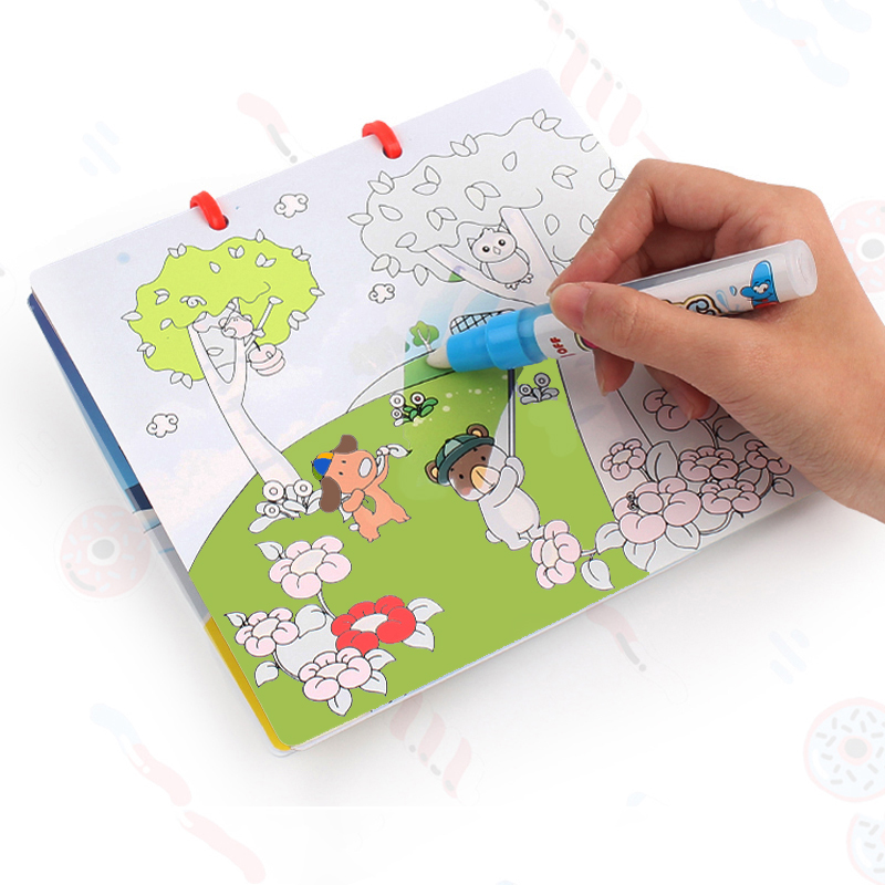 цена 2018 New Magic Water Drawing Book Coloring Book Doodle & Magic Pen Painting Drawing Board For Kids Toy Birthday Christmas Gift ) онлайн в 2017 году
