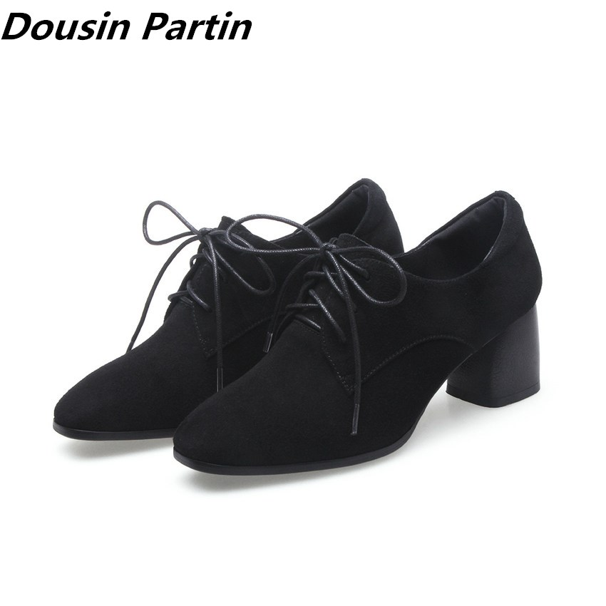 Dousin Partin Black pointed toe high heels autumn boots lace up gladiator women shoes suede shoes