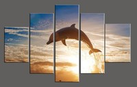 5 piece canvas art dolphin pictures modern ocean sea view group home wall decoration HD printed oil paintings for living room