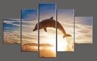 5 unidades de la lona arte dolphin pictures moderno océano vista al mar grupo de inicio decoración de la pared HD impreso pinturas al óleo para vivir habitación