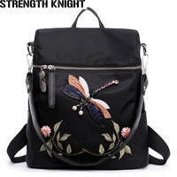 Embroidery Black School Backpack Female PU Leather Backpack Japanese Street Bag Women's School Bag for Teenage Girls