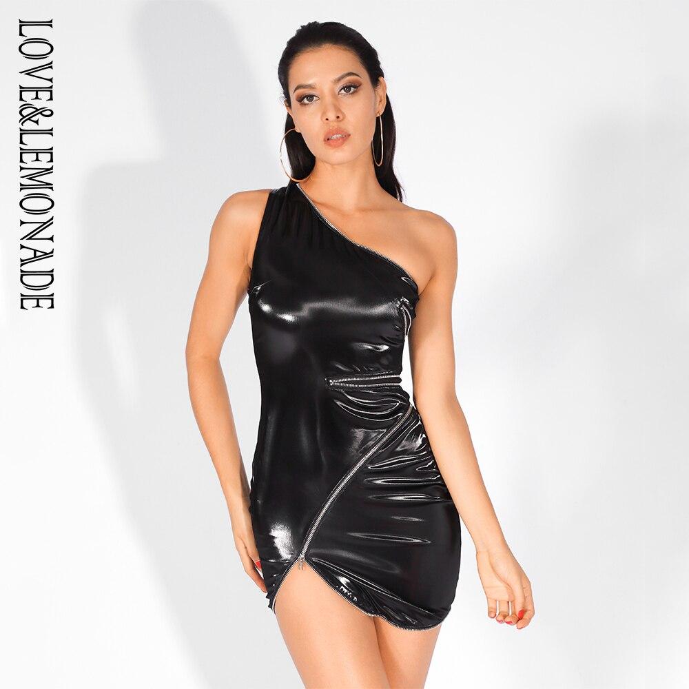 aa9892da8a75 spalla Faux Leather amp  Da Partito Lemonade Nero Chiusure Lampo Aderente Un  Vestito Elastico Lm81597 Di Sexy Amore pxPwTz1T