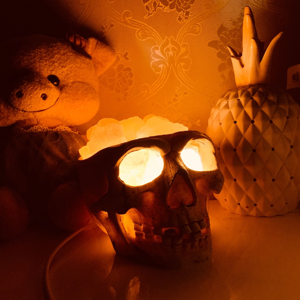 Statues Sculptures Resin Halloween Home Decor Decorative Craft Skull USB Crystal Light Natural Himalayan Salt Lamp Led Lamp