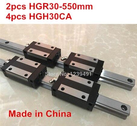 HG linear guide 2pcs HGR30 - 550mm + 4pcs HGH30CA linear block carriage CNC parts hg linear guide 2pcs hgr30 700mm 4pcs hgh30ca linear block carriage cnc parts