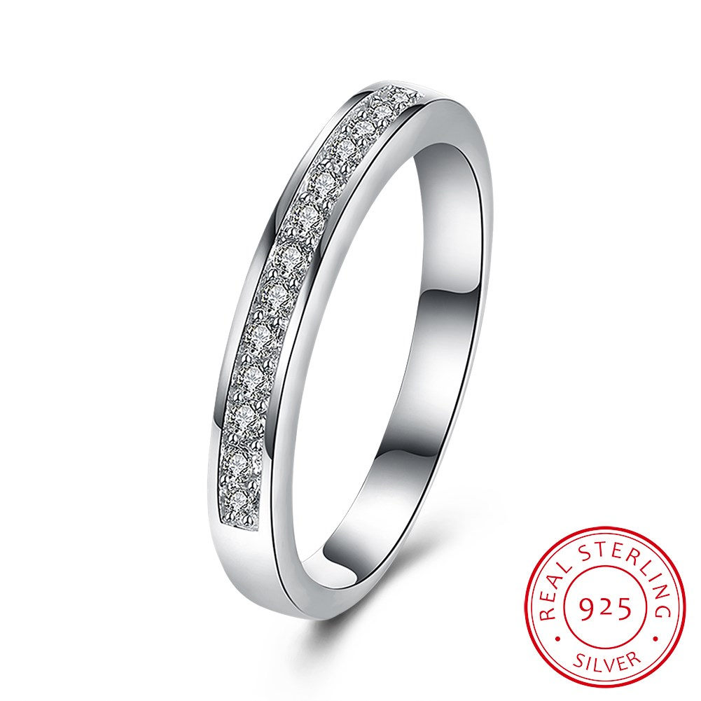 font b Fashion b font Round Circle 925 Sterling Silver Promise Rings for Women CZ