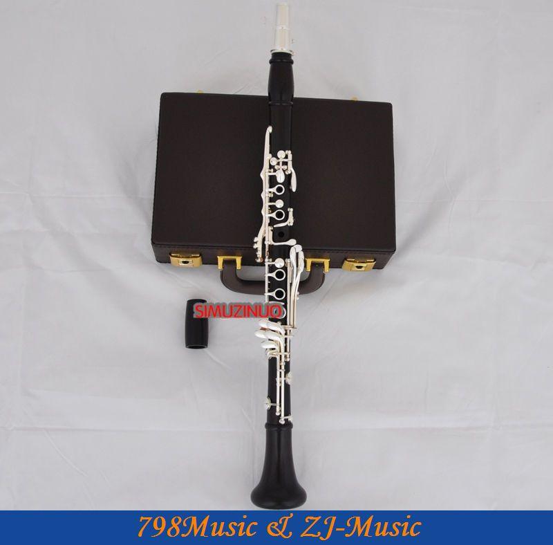 Профессиональный Африканский черный деревянный Bb кларнет посеребренный 19 ключей с Чехол