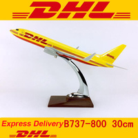 30CM 1:230 Scale Boeing B737 800 model DHL Express delivery airline with base alloy aircraft plane display for collection