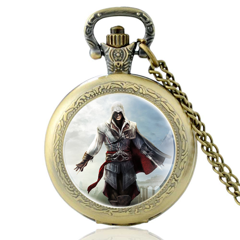 New Arrivals Assassin Hero Quartz Pocket Watch Vintage Men Women Bronze Pendant Necklace Gifts