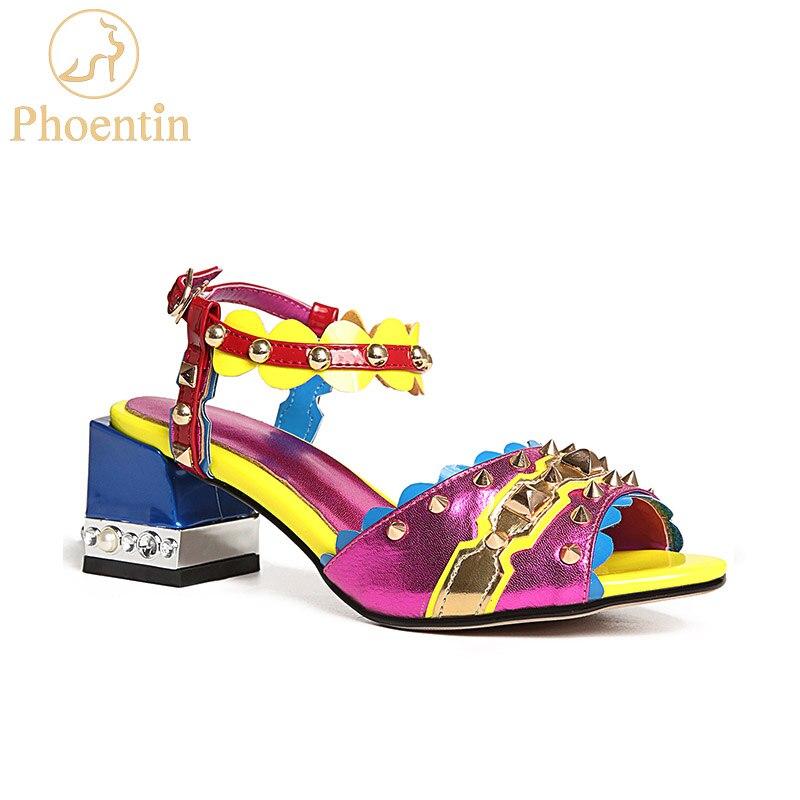 Phoentin purple ankle strap women sandals genuine leather 2018 fashion rivet mixed colors summer women s