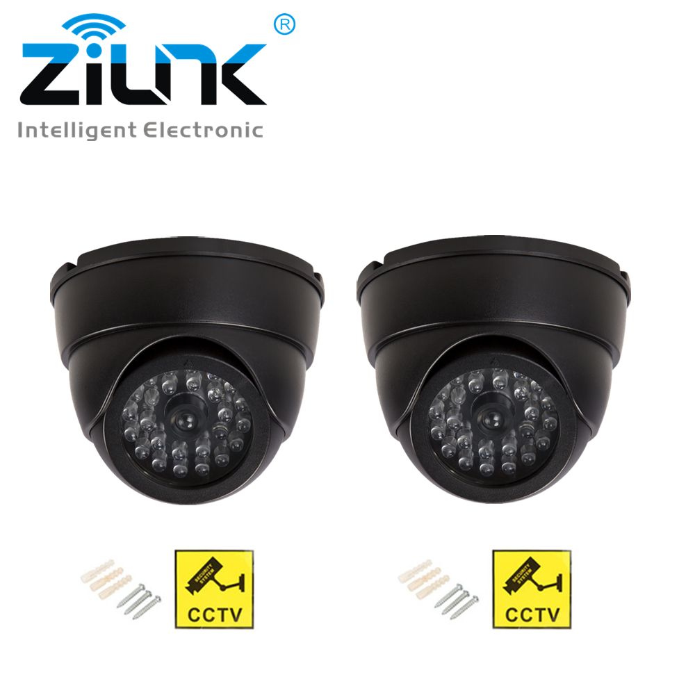 2pcs Security CCTV Simulation Fake Camera Dome With Flashing LED Light Waterpoof Outdoor Indoor Dummy Camera Surveillance-in Surveillance Cameras from Security & Protection