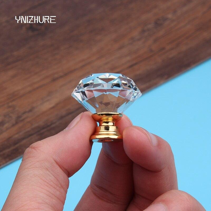2018 30mm 10pcs Crystal Glass Cabinet Drawer Desk Knob Handle Wardrobe Shoe Golden Base Alloy Fittings Furniture Components