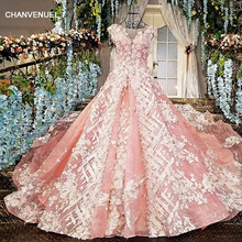 LS00226 pink vestido de festa see through back appliques cap sleeves lace ball gown beading lace evening dresses real photos