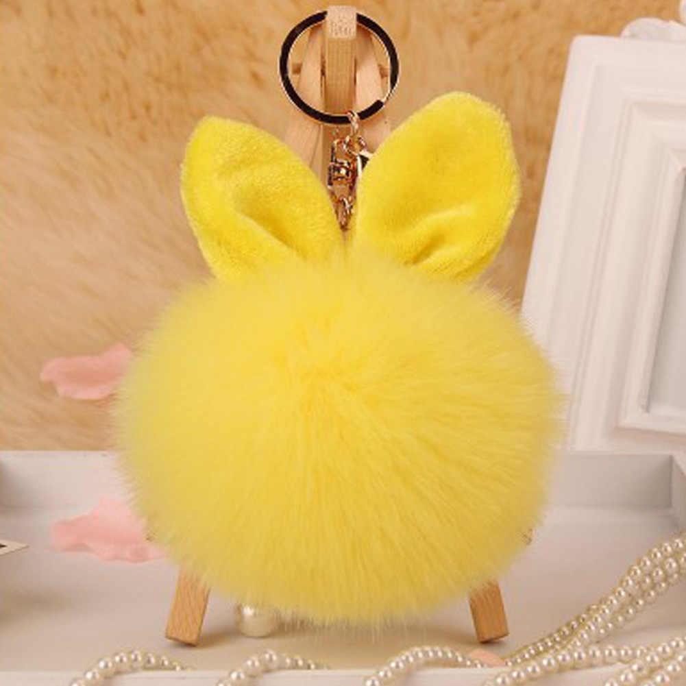 Coelho coelho coelho chaveiro pompon fofo orelha de coelho bola de pele chaveiro saco femme pom pom chaveiro