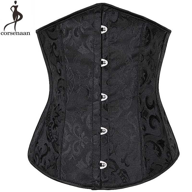 Jacquard Floral Underbust Corset Gothic Corsets Women Plus Size 6XL Korset Fish Boned Bustier Solid Black White Gorset Corselet