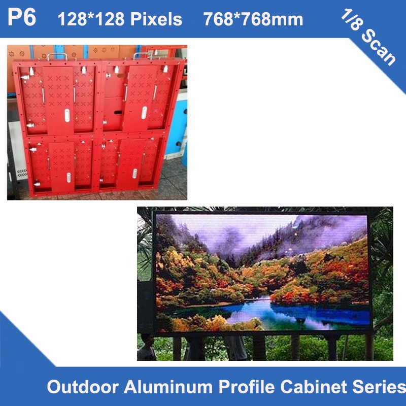 TEEHO 6pcs/lot Display Led Video Outdoor P6 Rental Fixed Use Aluminum Profile Cabinet 768mm*768mm 1/8 Scan Penl Led Module Panel