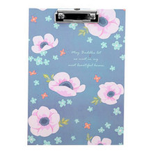 Affordable Lovely Blue Pink Flower Cardboard Stainless Steel A4 File Folder Written Pad Board Stationery Supplies(China)
