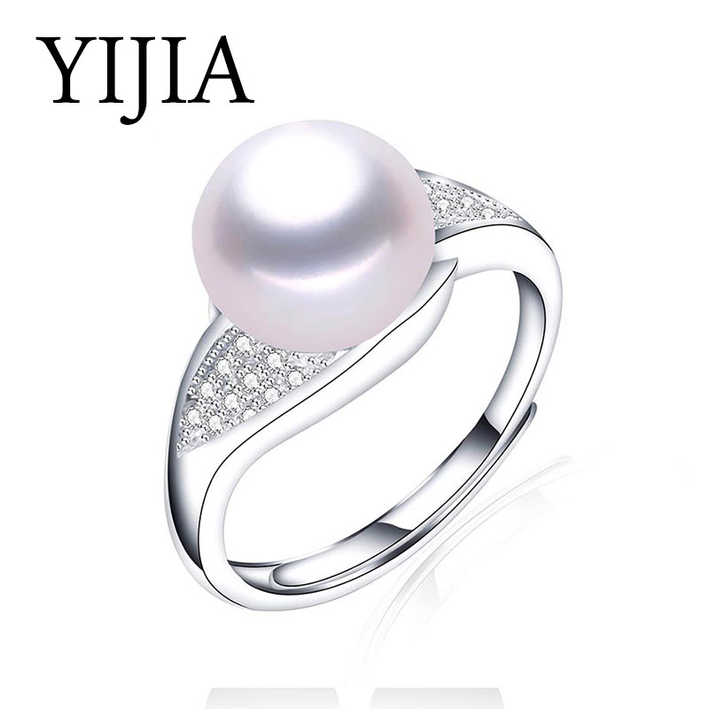 YIJIA 2018 New Pearl Jewelry 18K White Gold Plated Ring For Women With Austrian Crystal Wedding Rings Anillos Female Pearl Ring ...