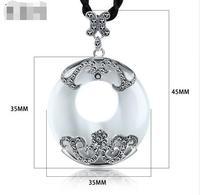4.5 * 3.5 CM Vintage Jadeite Stone Donut Opals Pendant Necklace For Women 925 Sterling Silver Pendant Retro Jewelry