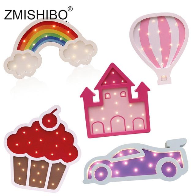 ZMISHIBO Eye catching Night Light Girl Style Castle Cake Car Rainbow Children Lamps Kids Baby Bedroom Home Decorative Lighting