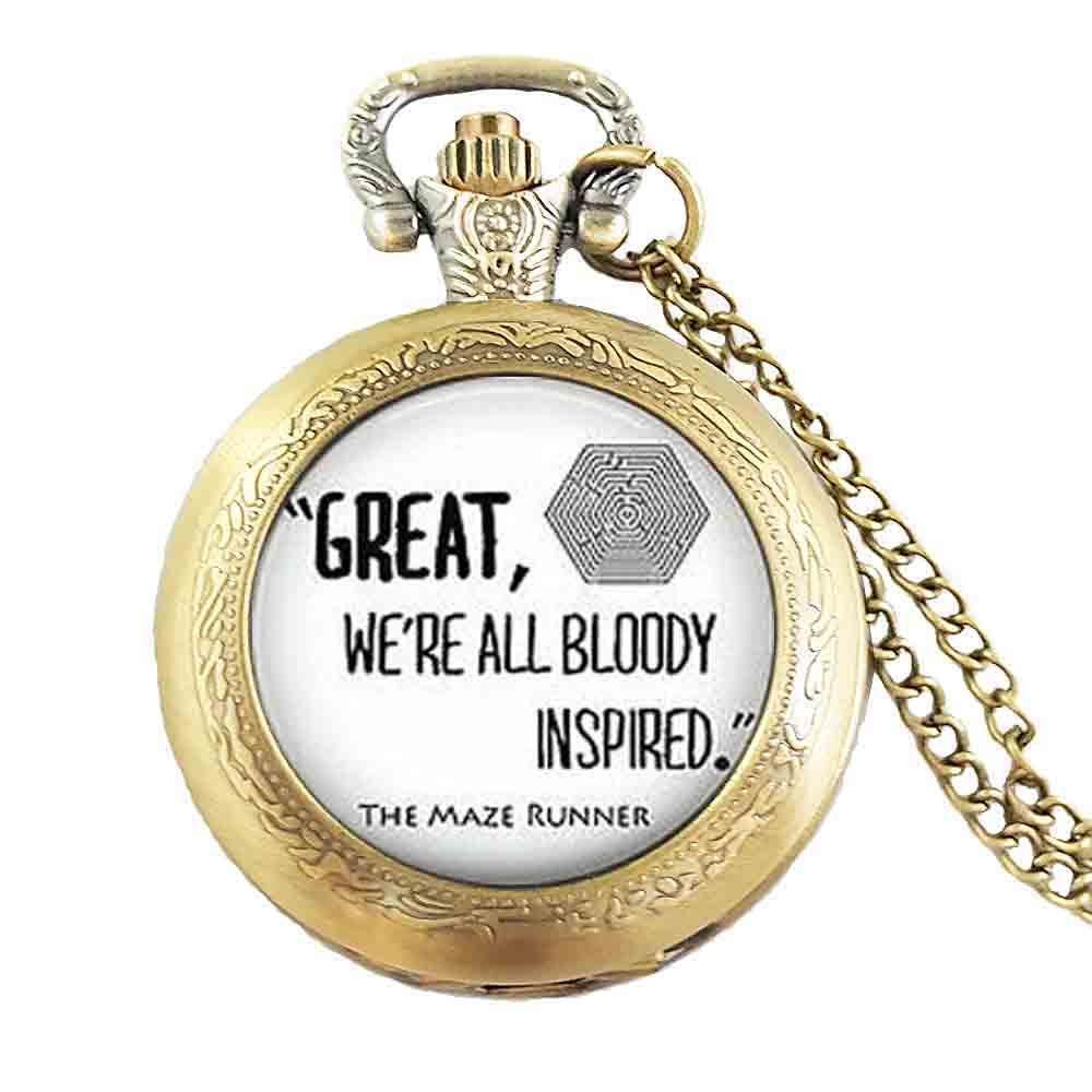 Steampunk Drama THE MAZE RUNNER Quote Pocket Watch steel mens Necklace doctor dr who chain 1pcs/lot man jewelry women chain men image