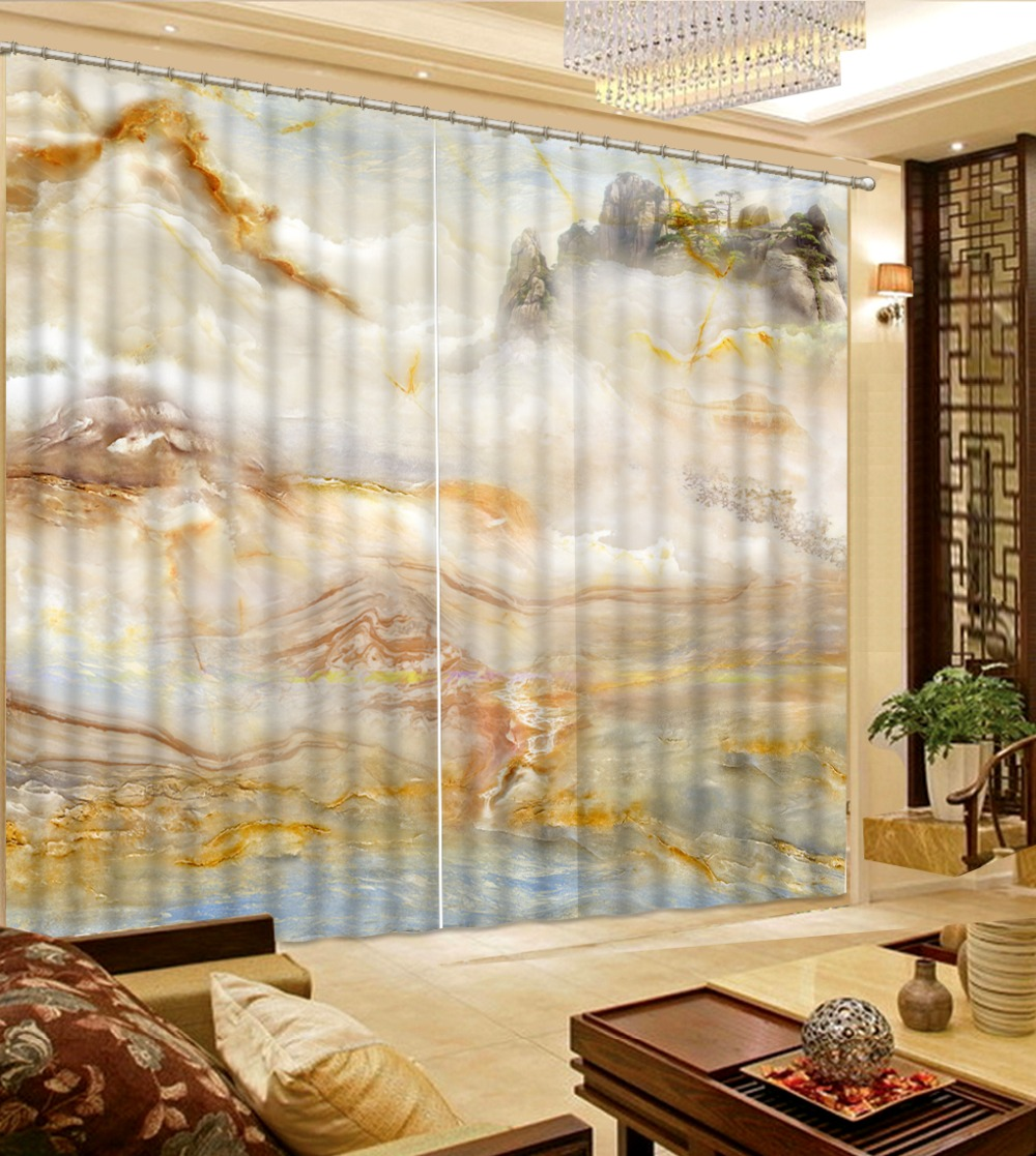 3D Curtain Modern Living Room Curtains Stone Pattern Landscape Home Curtains Decoration Bedroom Blackout Curtain