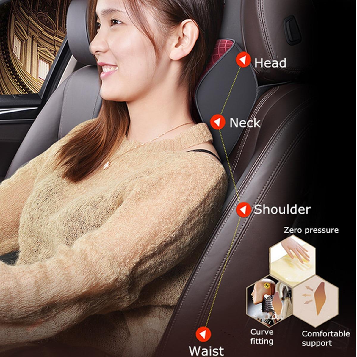 Car Headrest Pillow Leather Neck Pillow Pad Seat Memory Cotton Lumbar Cushion PU Leather Multifunctional Adjustable Colors