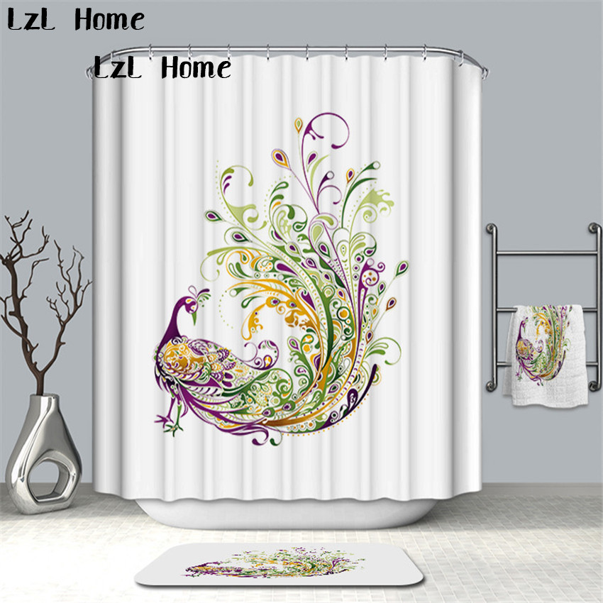 LzL Home High Quality Bird Peacock Eagle Printed Shower Curtain Waterproof Mildewproof Home Bathroom Decor Eco-friendly Fabric