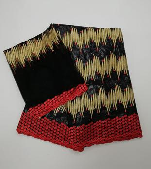 newest getnzer lace fabric good quality african bazin riche lace fabric 5+2yards nigerian lace with headtie   f9JUN266