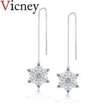 Vicney 925 Sterling Silver Ear Wire simple temperament earrings Fashion Snowflake for women boucle doreille femme 2019