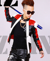 S-4XL ! Men's fashion DJ nightclub singer GD Black and white red stitching motorcycle leather jacket coat costumes clothing