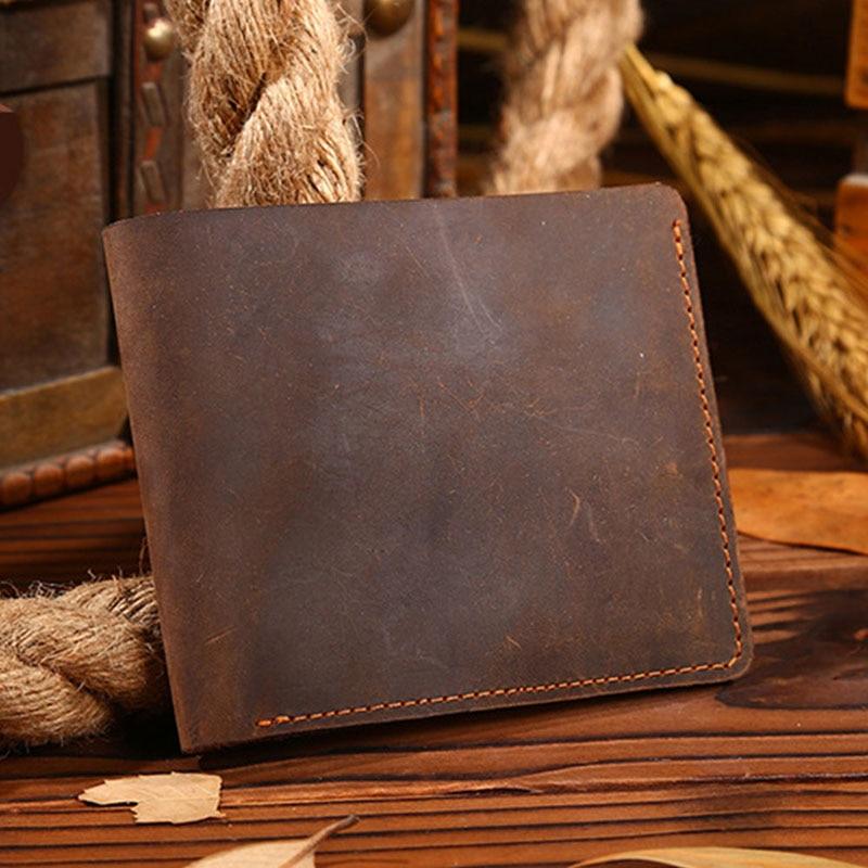 THINKTHENDO Винтажный Мужской кошелек из кожи Crazy Horse, двойной кошелек из натуральной кожи, кошелек с отделением для карт - Цвет: 02