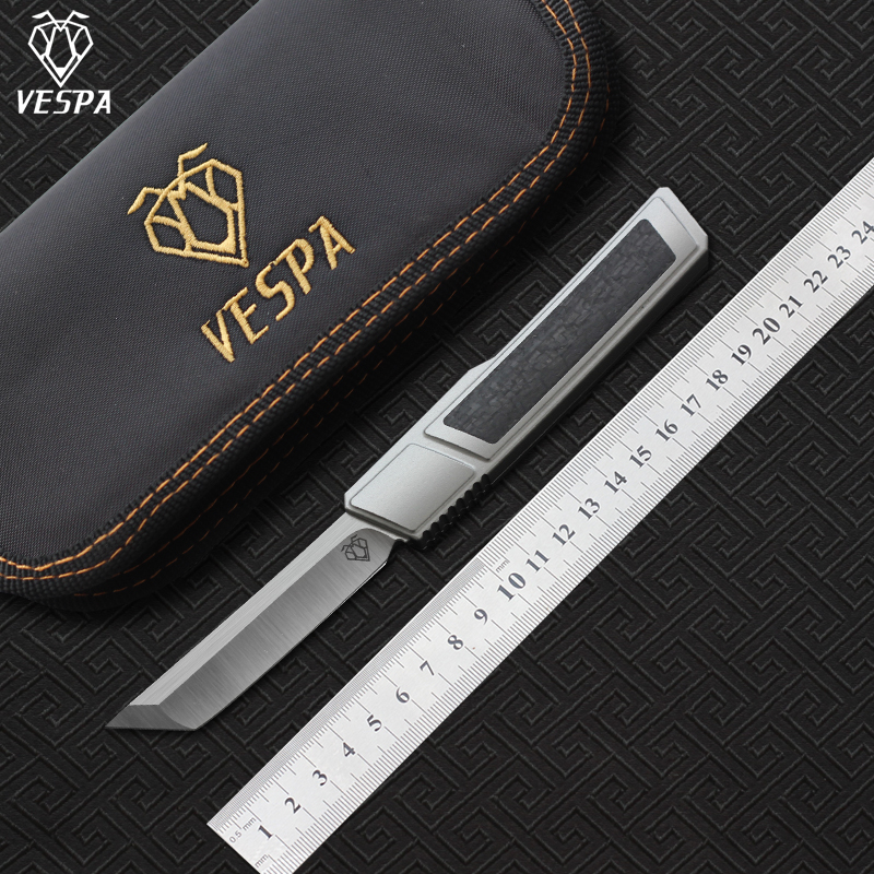 High quality VESPA Ripper,Blade:M390(Satin) Handle:7075Aluminum+CF,survival outdoor EDC hunt Tactical tool dinner kitchen knife(China)