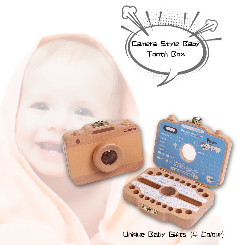 Wholesale Baby Tooth Wood Box Organizer For Save Milk Teeth Storage Box Camera Shape Case Toys Great Gifts For Kids