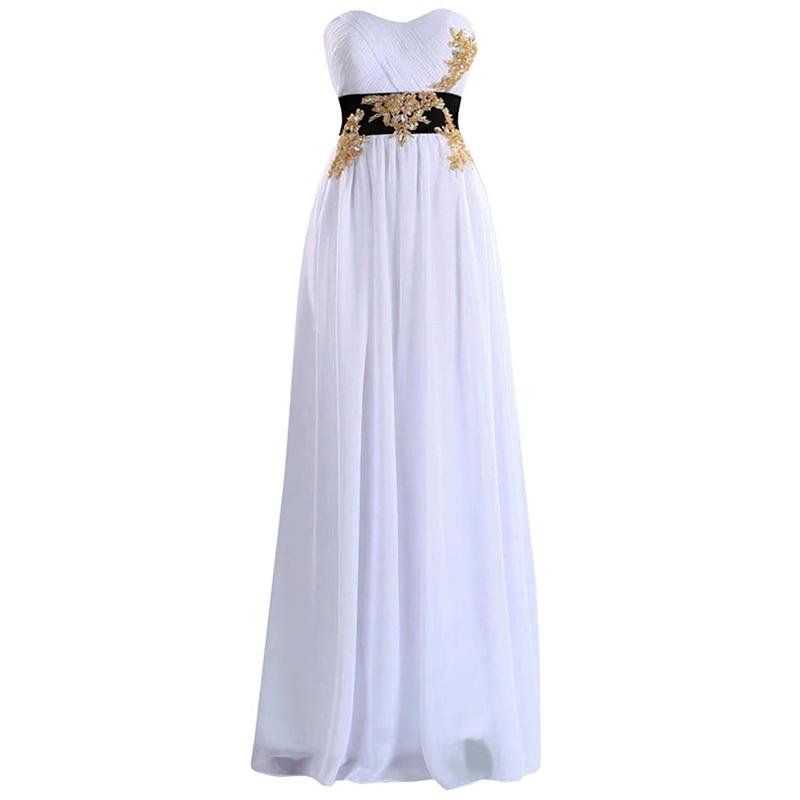 KapokBanyan Real Photo White Chiffon Appliques Prom Dresses 2017 Cheap Sweetheart Zipper Long Party Gown Simple Vestido de festa