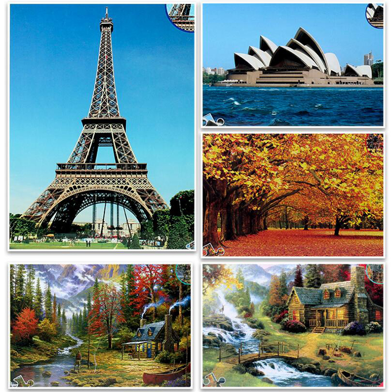 <font><b>Puzzle</b></font> <font><b>1500</b></font> <font><b>pieces</b></font> world famous Landscape Paper <font><b>Puzzle</b></font> Toys Adults Collection <font><b>Jigsaw</b></font> <font><b>Puzzle</b></font> children toys DIY Home Decoration image