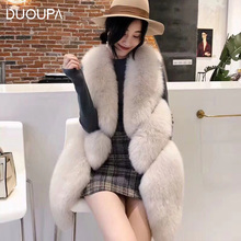 DUOUPA New Arrival Hot Sale Natural Real Fox Fur Vest Gilet for Women Girls Real Fur Coat Mink Coat Women's Vest Fox Fur Coat duoupa women s fur coat 100